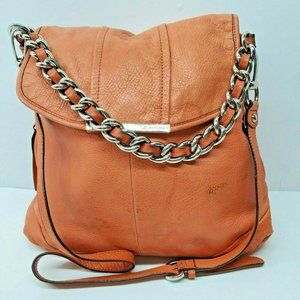 B Makowsky Orange Leather Chain Cross Body Purse